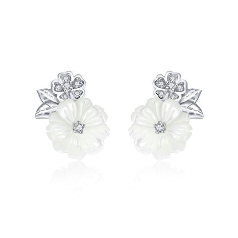 Shell Flower White Enamel Stud Earrings