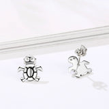 Beautiful Designed Turtle Shape Earrings Silver Sterling Animal Earrings