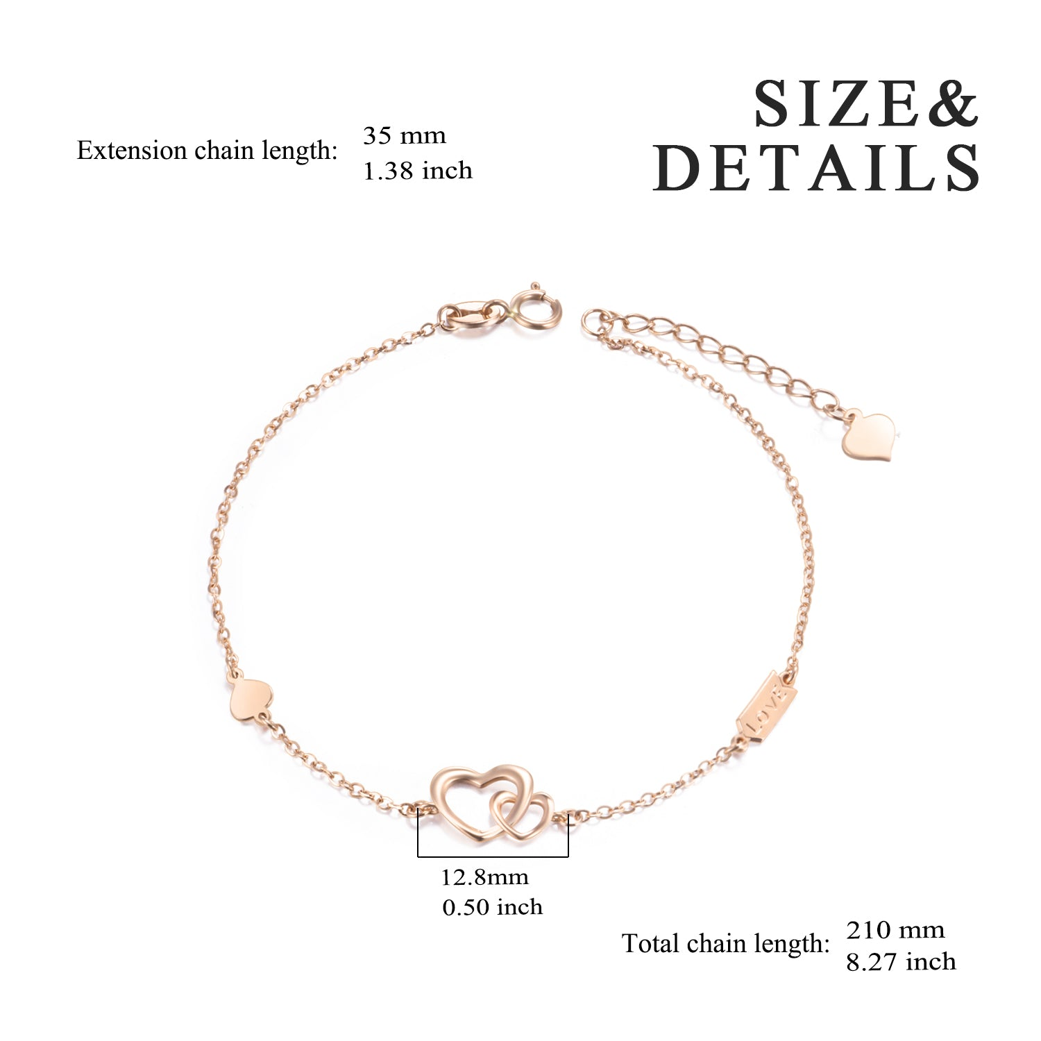 18K Gold European And American Fashion Trend Cross-Border Jewelry Linked Love Bracelet