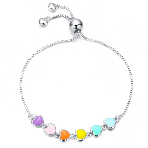 silver white gold plated Epoxy rainbow heart bracelet