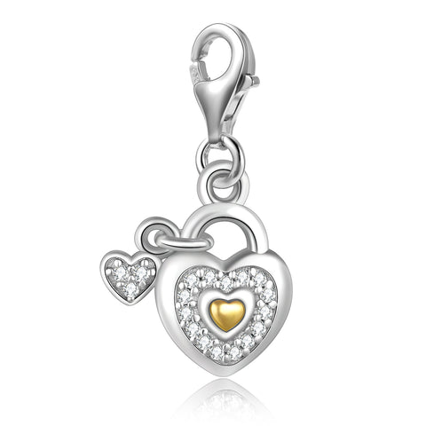 925 Sterling Silver Heart-Shaped Concentric Lock Pendant Fashion Temperament Ladies Accessories