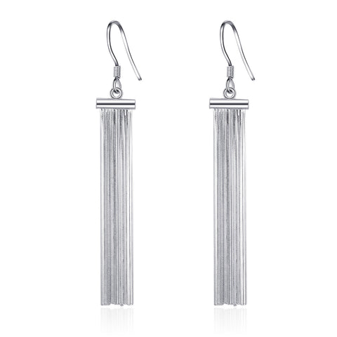 Tassel Earrings Hook Long Silver Chain Tassel Fashionable Earrings Jewelry