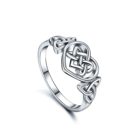 Heart-shaped Celtic knot jewelry ring S925 sterling silver ring cross-border creative