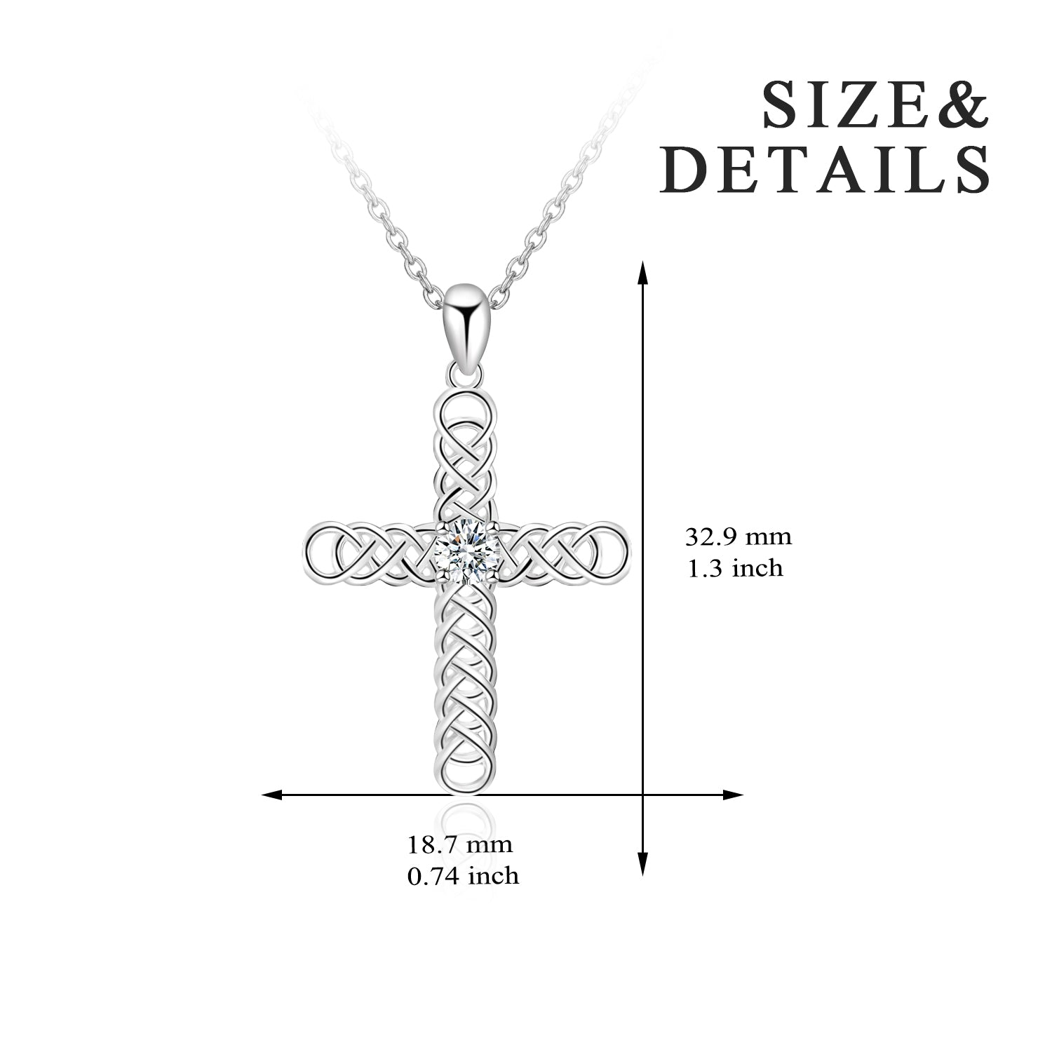 Romantic 925 Sterling Silver Women Necklace Celtic Knot Cross Necklace