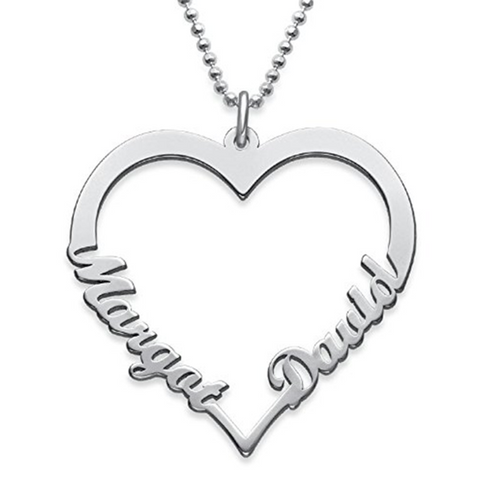 925 Sterling Silver/Copper Personalized Classic Heart  Name Necklace with Two Names Rolo Chain 18""