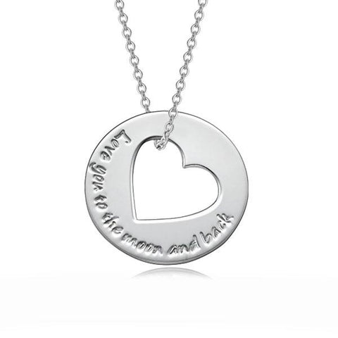 "925 Sterling Silver Personalized Round Love Heart Necklace Adjustable 16""-20"""