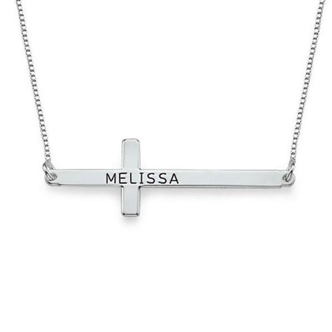 "925 Sterling Silver Personalized Simple Cross Name Necklace- Adjustable 16""-20"""