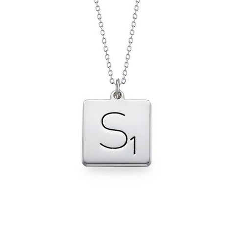 "925 Sterling Silver Personalized Square Initial Necklace-Adjustable 16""-20"""