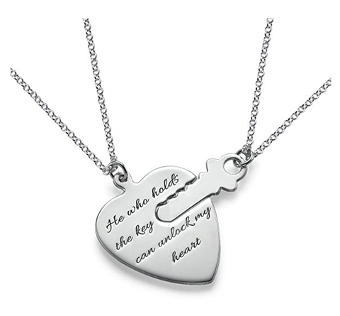 "Key To Heart 925 Sterling Silver Personalized  Engravable Necklace-Adjustable 16""-20"""