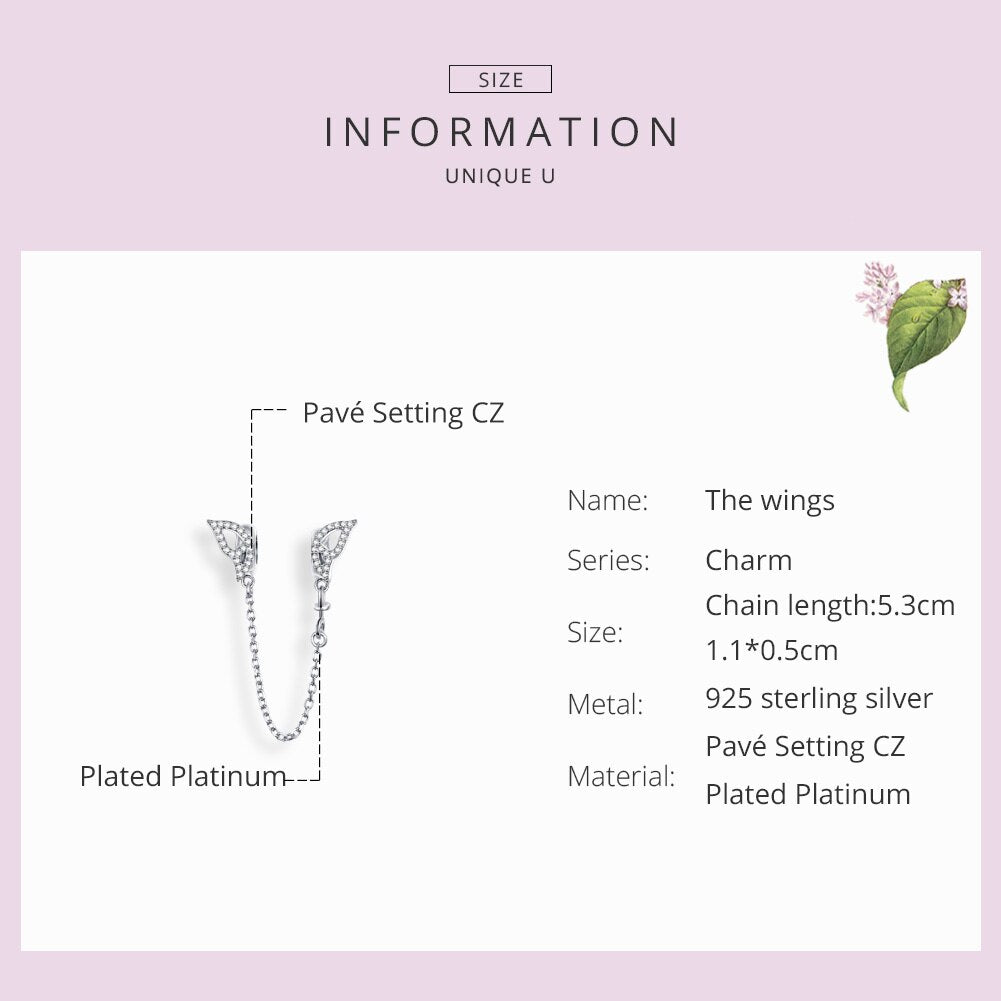 Wings Safety Chain Silver 925 Long Metal Charms compatible for Original Snake Silver  Bracelet Fine Jewelry