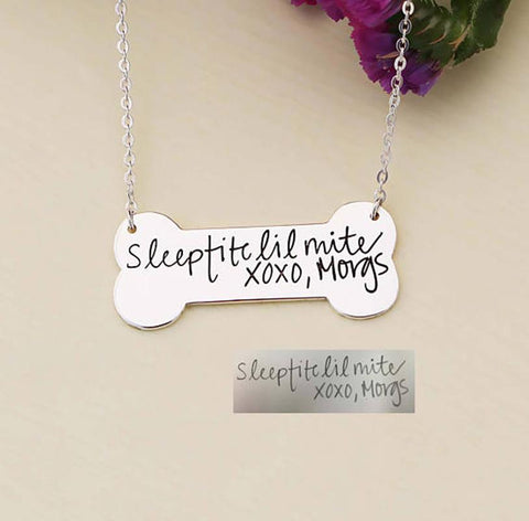 "925 Sterling Silver Personalized Engraved Signature Bone Tag Necklace-Adjustable 16""-20"""