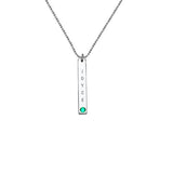 "925 Sterling Silver Personalized Vertical Sterling Silver Bar Necklace with Birthstone Adjustable 16""-20"""