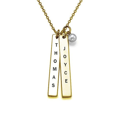 "925 Sterling Silver Personalized Engraved Vertical Bar Necklace Adjustable 16""-20"""