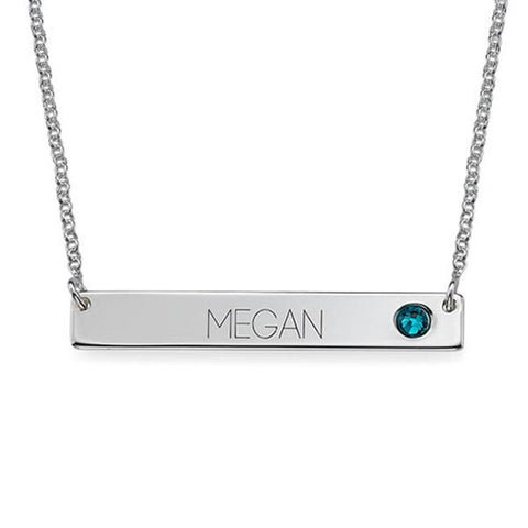 "925 Sterling Silver Personalized Bar Necklace with Birthstone Adjustable 16""-20"""