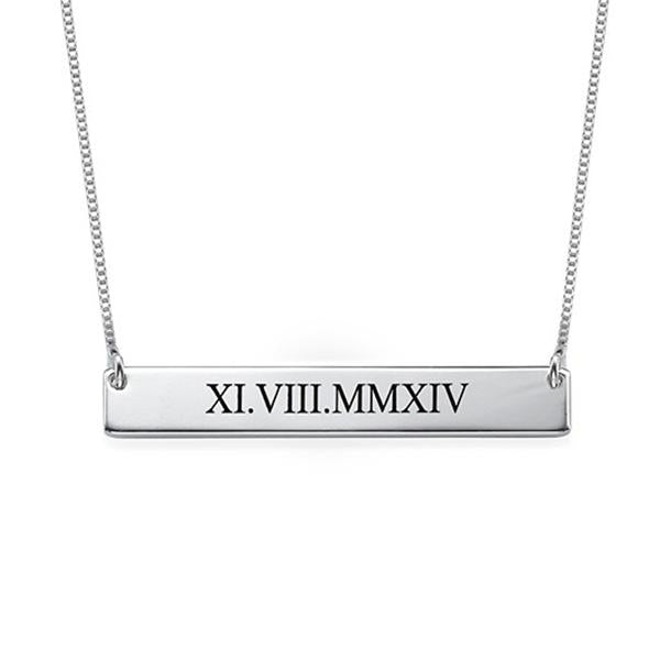 "925 Sterling Silver Personalized Roman Numeral Bar Necklace  Adjustable 16""-20"""
