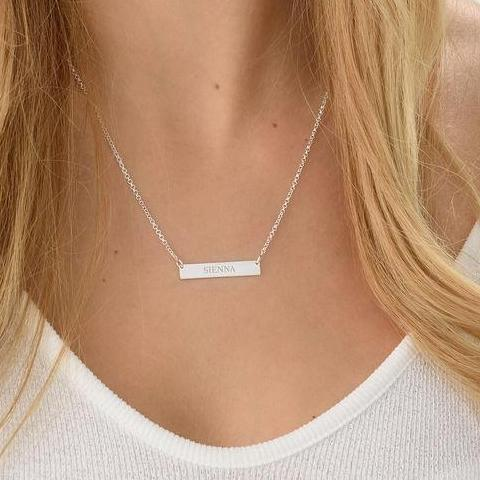 "925 Sterling Silver Personalized Bar Engraved  Necklace Adjustable 16""-20"""