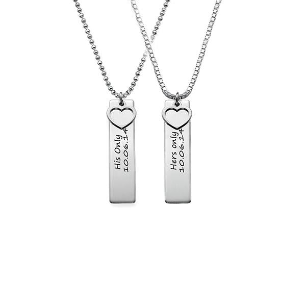 "925 Sterling Silver Personalized Bar Engraved With A Heart Necklace Adjustable 16""-20"""