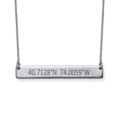 "925 Sterling Silver Personalized Coordinates Bar Necklace Adjustable 16""-20"""