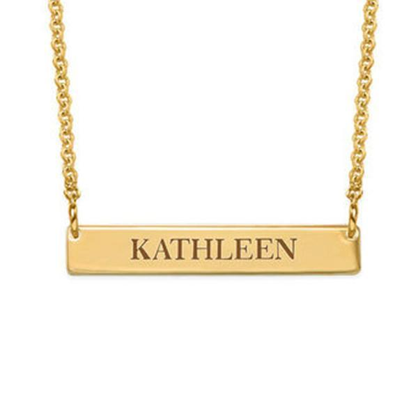 "Personalized Bar Engraved Necklace Adjustable 16""-20"""