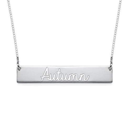 "Personalized Cut Out Name Bar Necklace Adjustable 16""-20"""