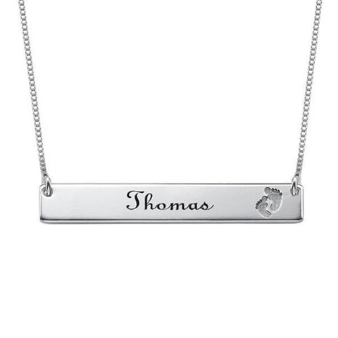 "925 Sterling Silver Personalized Footprint Bar Engraved  Necklace Adjustable 16""-20"""