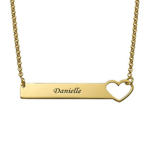 "Personalized Engraved Heart Bar Necklace Adjustable Chain 16""+2"""