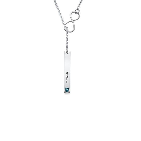 "925 Sterling Silver Personalized Bar Necklace with Infinity Charm Adjustable 16""-20"""