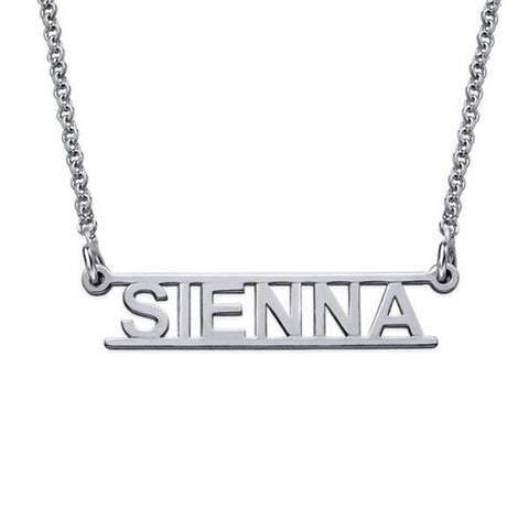 "Cut Out Design - 925 Sterling Silver Personalized Bar Name Necklace Adjustable 16""-20"""