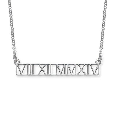 "Cut Out Design - 925 Sterling Silver Personalized Roman Numeral Bar Necklace  Adjustable 16""-20"""