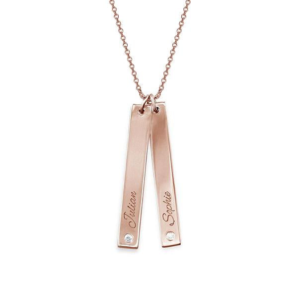 "925 Sterling Silver Personalized Vertical Bar Necklace with Diamond  Adjustable 16""-20"""