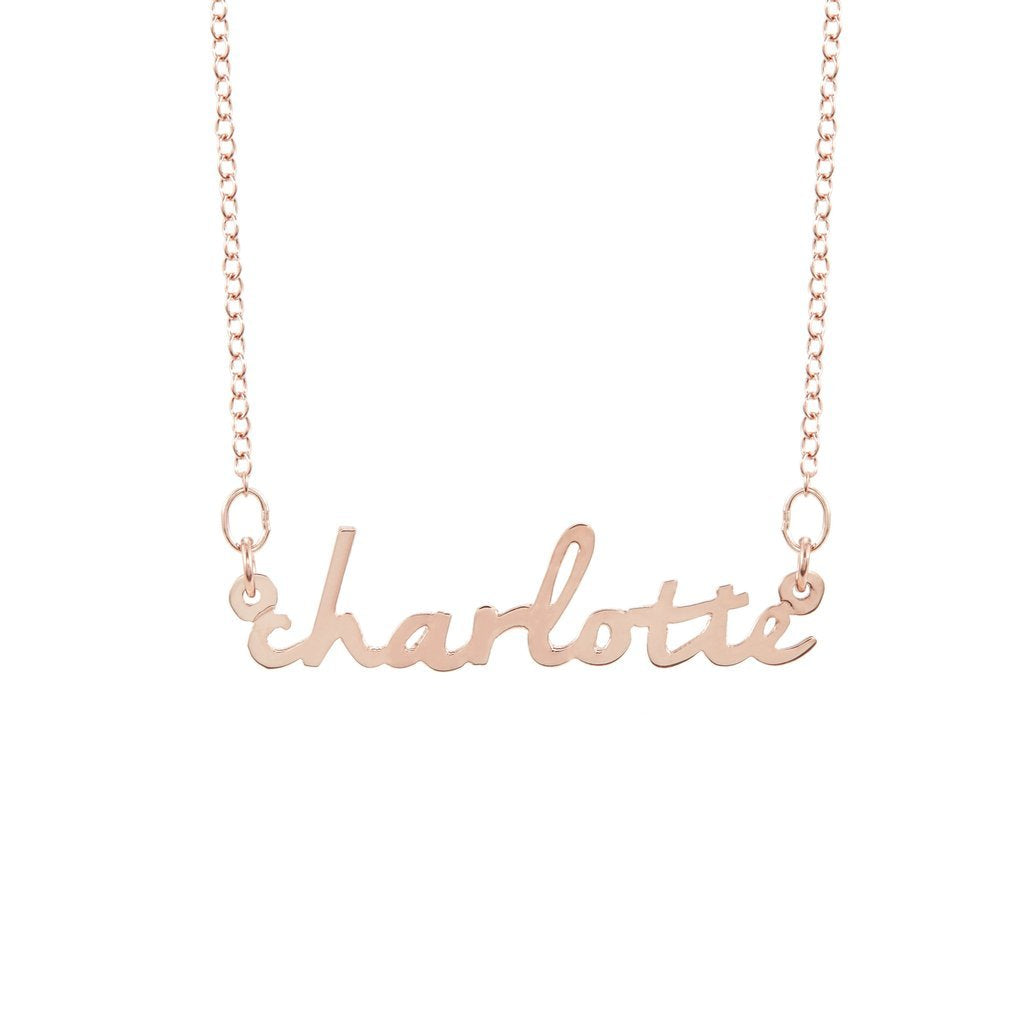Personalized 925 Sterling Silver Name Necklace -Plated Rose Gold