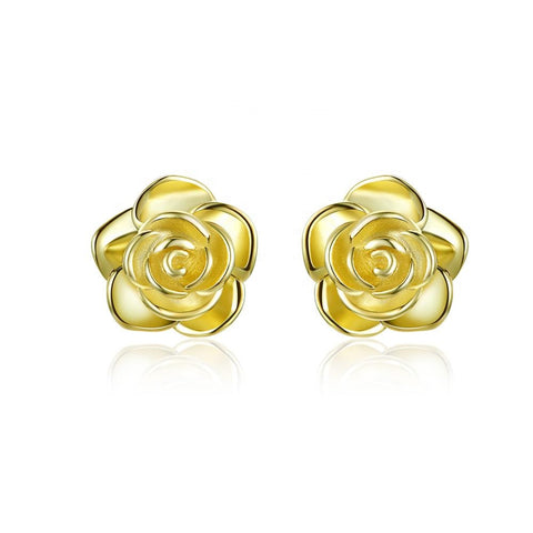 S925 Silver Gold Plated Beautiful Rose Flower Stud Earrings  Jewelry for Women