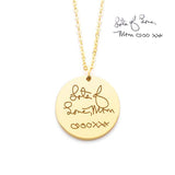 "925 Sterling Silver Personalized Disc Handwriting Signature Necklace-Adjustable 16""-20"""
