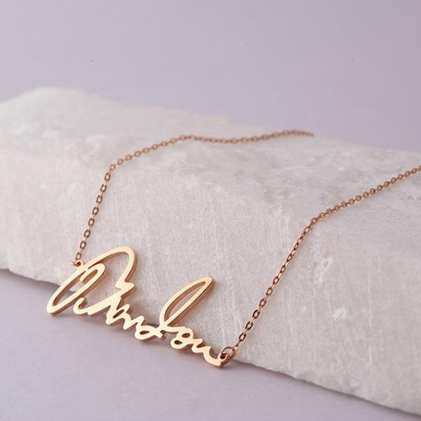 "Personalized 925 Sterling Silver Signature Necklace Handwriting Name Adjustable 16""-20"""