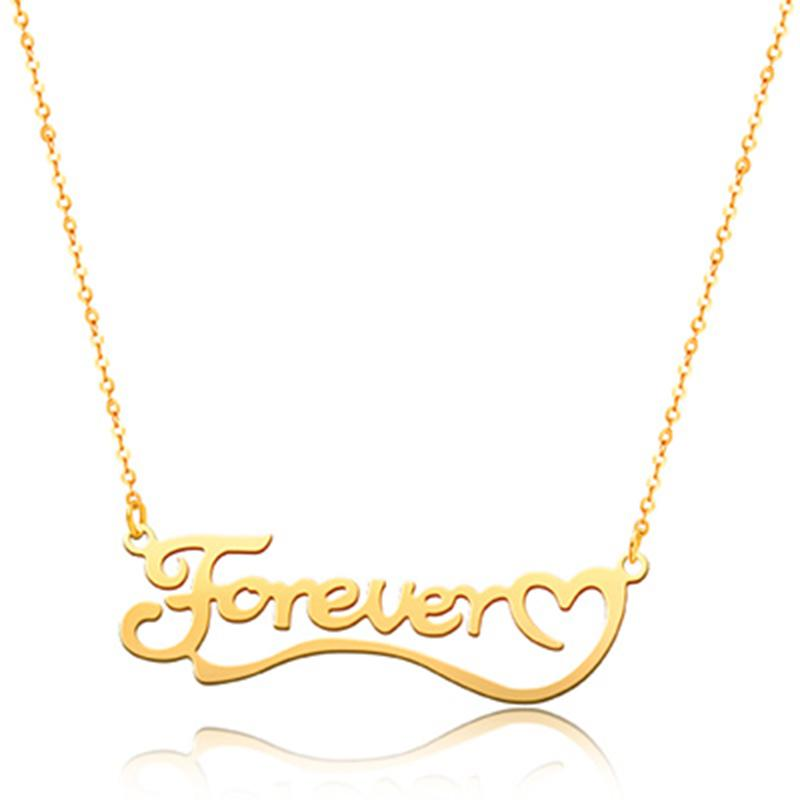 Love You Forever 925 Sterling Silver Personalized Classic Name or Text  Necklace
