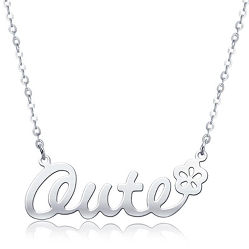 Custom 925 Sterling Silver Classic Name Necklace with Flower