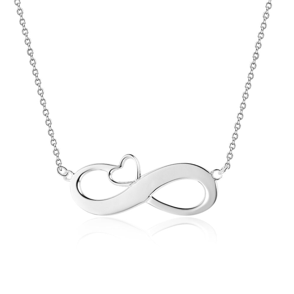 Customized Infinity Necklace with Heart Personalized Name Necklace 925 Sterling Silver Necklaces & Pendants