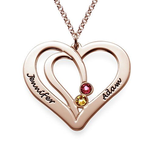 925 Sterling Silver Personalized Engraved Couples Birthstone Necklace