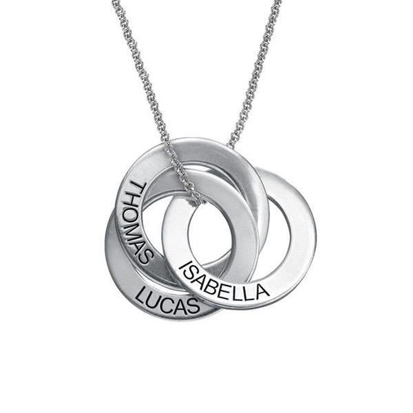 925 Sterling Silver Personalized Russian Ring Engraved Necklace