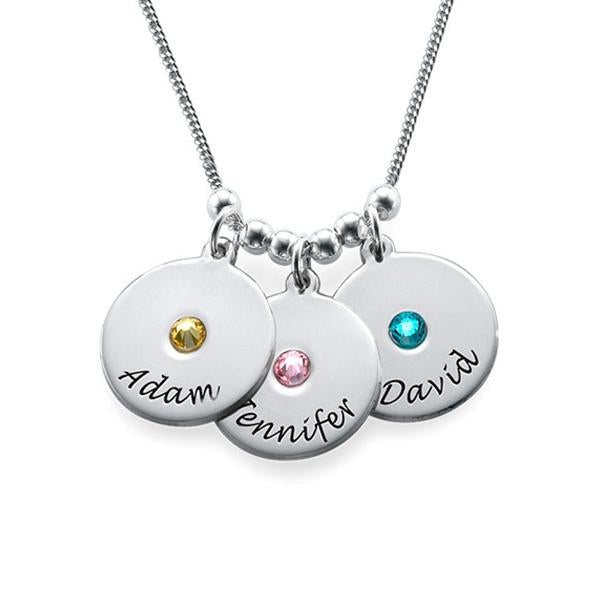925 Sterling Silver Personalized Mother's Disc and Birthstone Necklace
