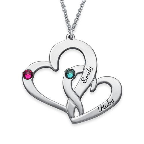 925 Sterling Silver Personalized Engraved Two Heart Necklace