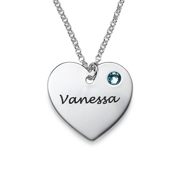 925 Sterling Silver Personalized Heart Necklace with Swarovski