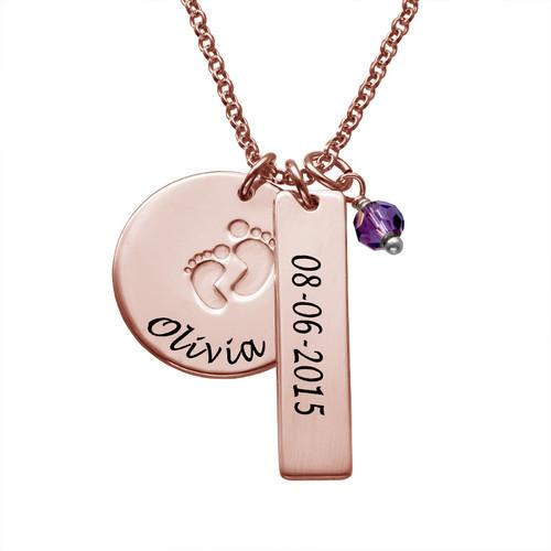 925 Sterling Silver Personalized New Mom Jewelry - Baby Feet Charm Necklace