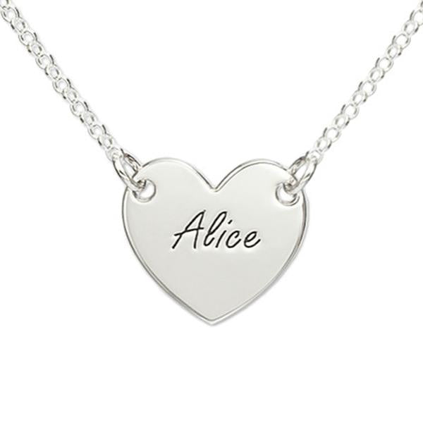 925 Sterling Silver Personalized Engraved Heart Necklace Adjustable 16-20""