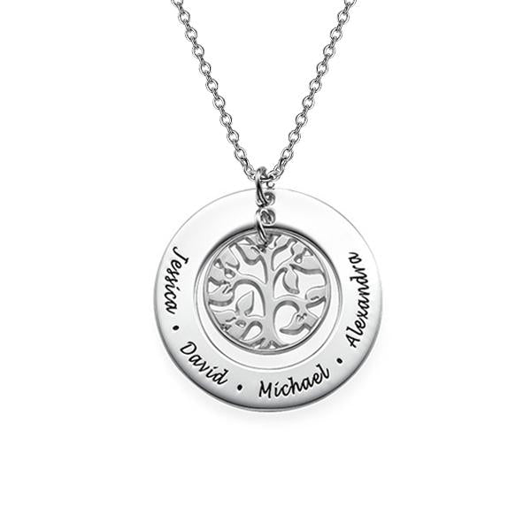 925 Sterling Silver Personalized Family Tree Necklace Adjustable 16-20""