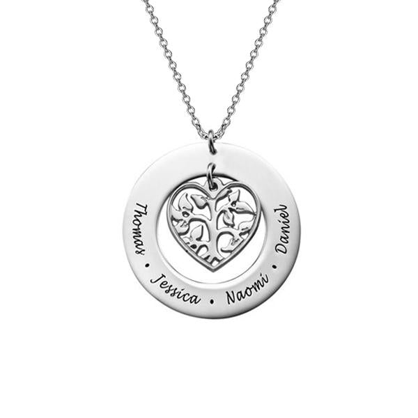 925 Sterling Silver Personalized Heart Family Tree Necklace Adjustable 16-20""
