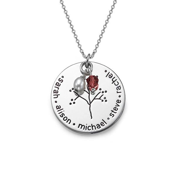 925 Sterling Silver Personalized Birthstone And Pearl Family Tree Necklace Adjustable 16-20""