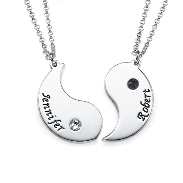 925 Sterling Silver Personalized Engraved Yin Yang Necklace for Couples Adjustable 16-20""