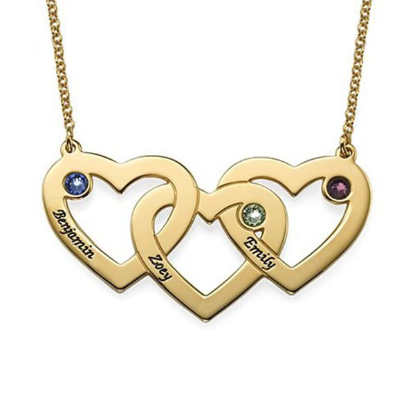 925 Sterling Silver Personalized Intertwined Hearts Necklace with Birthstones