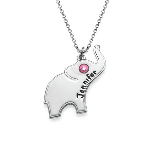 925 Sterling Silver Personalized Lucky Elephant Necklace with Engraving Adjustable 16-20""